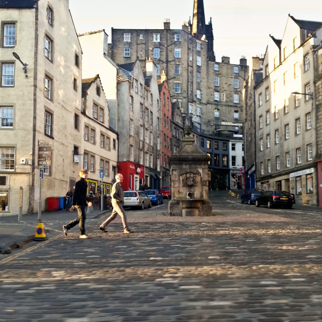 """Victoria Street from Grassmarket, Edinburgh"" stock image"
