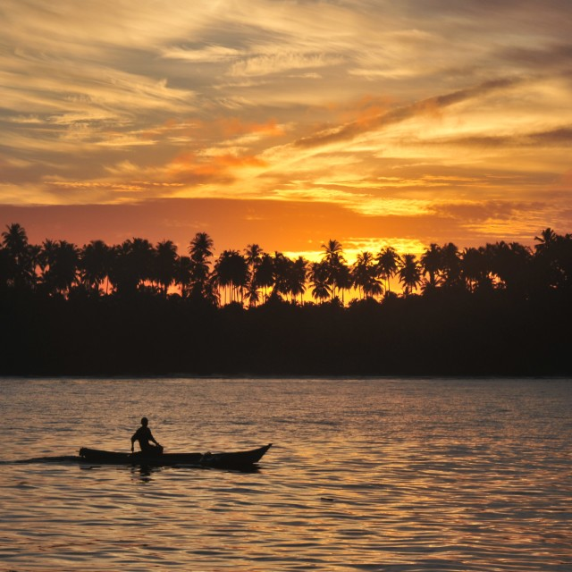 """canoe sunset"" stock image"