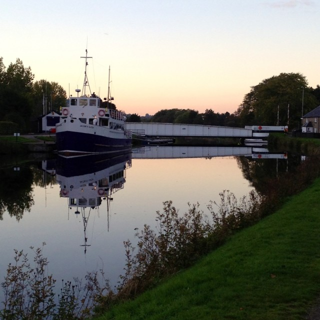 """Sunset on the Caledonian canal"" stock image"