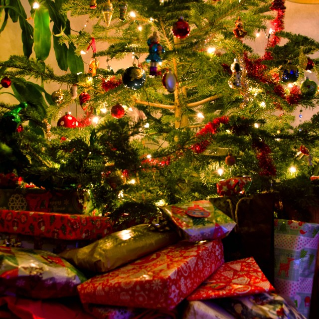 """Presents under the Christmas tree"" stock image"