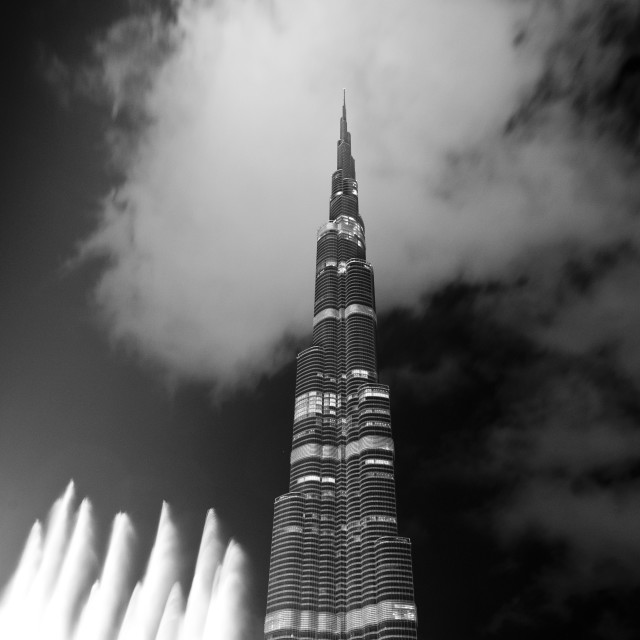 """The Burj Khalifa and Dubai Fountain"" stock image"