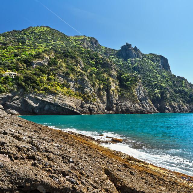 """Punta Chiappa, Liguria, Italy"" stock image"
