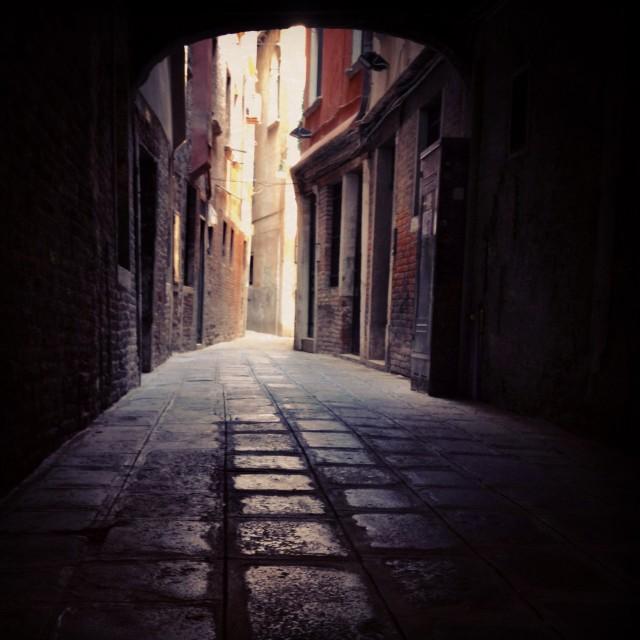 """""""Deserted street, Venice"""" stock image"""