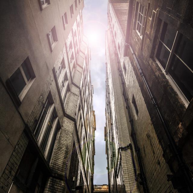 """Dark Alley sunshine"" stock image"