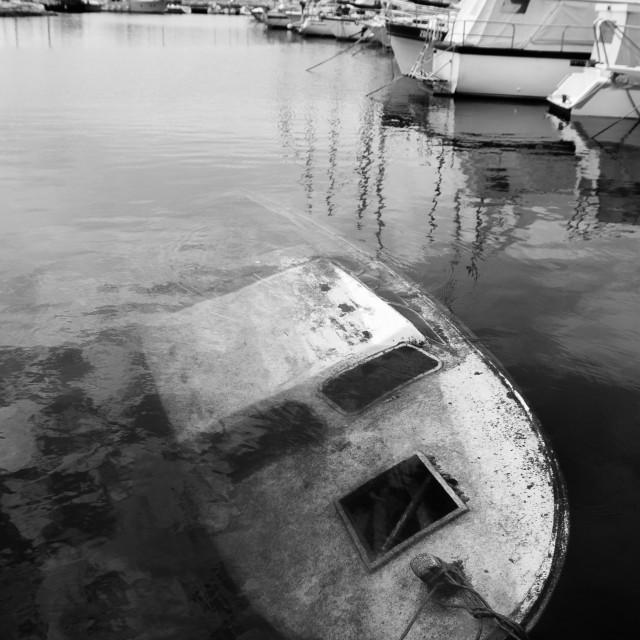 """""""Sunken boat"""" stock image"""