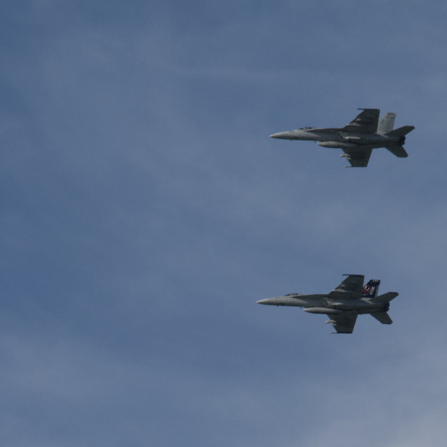 """F-18 fighter jets over San Francisco bay"" stock image"