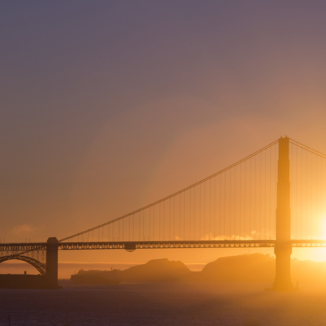 """Golden Gate Bridge at sunset"" stock image"
