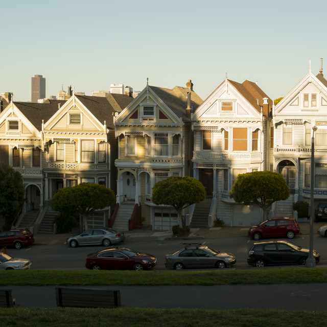 """Painted ladies at Alamo Square"" stock image"