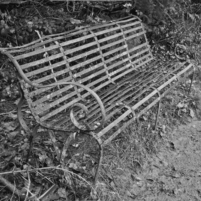 """Old Metal Bench"" stock image"