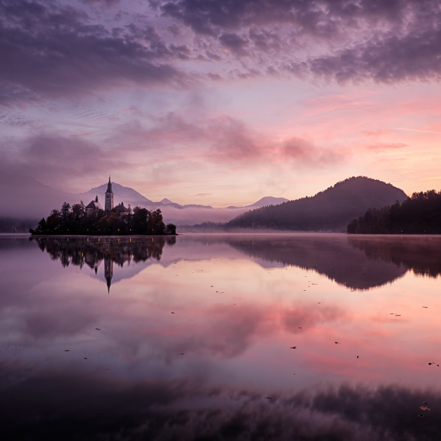 """Lake Bled sunrise - Slovenia"" stock image"