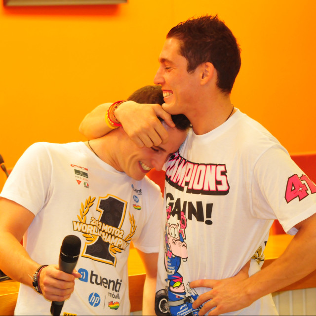 """Fraternal Love: Pol and Aleix Espargaró"" stock image"