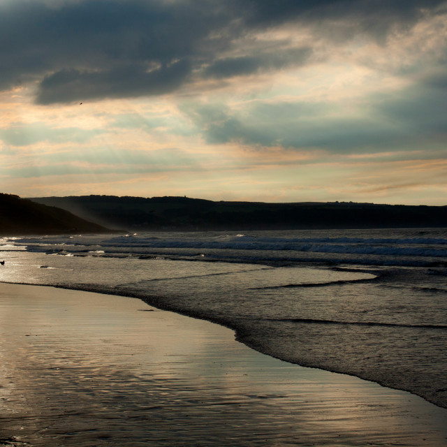 """The beach at Whitby"" stock image"