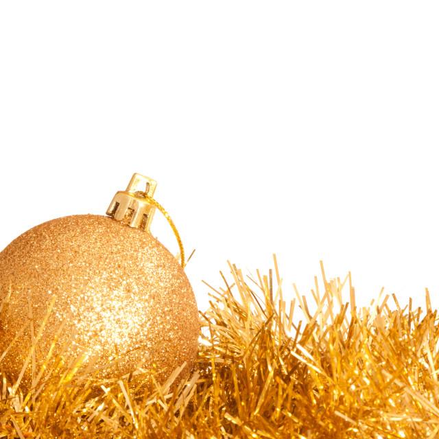 """Christmas Decorations On White"" stock image"