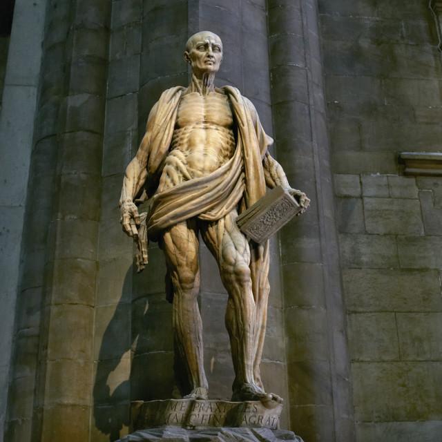 """St. Bartholomew statue in Milan"" stock image"