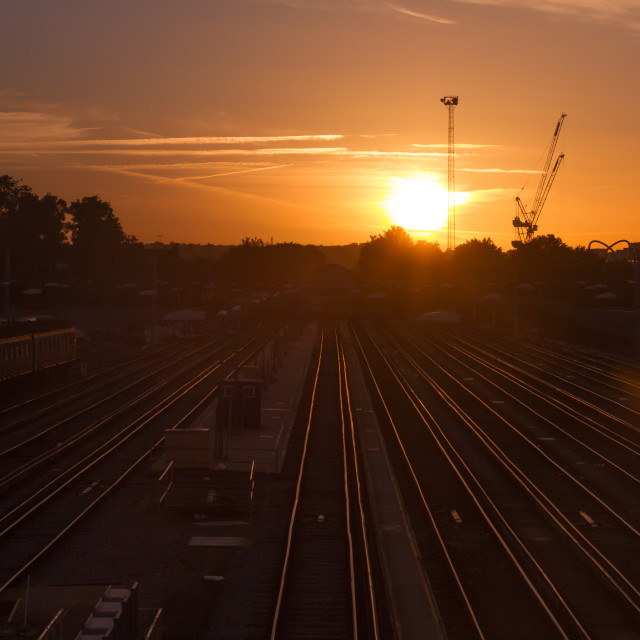 """Sunset over Clapham Junction"" stock image"