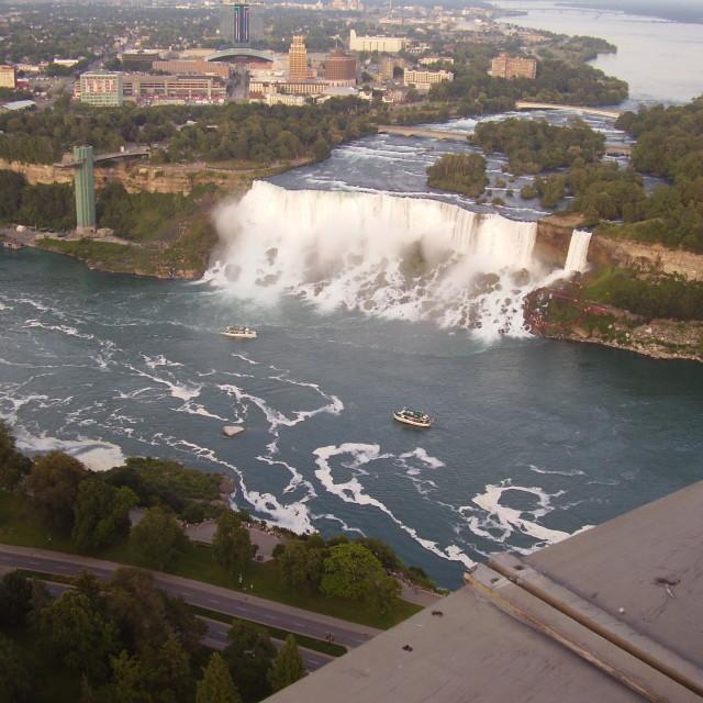 """Niagara Falls from above"" stock image"