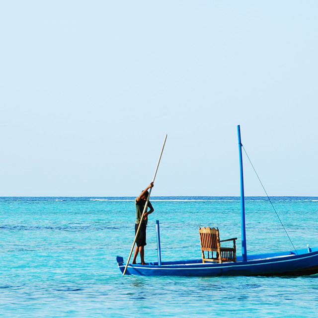 """Maldivian honeymoon boat"" stock image"