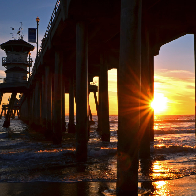 """Huntington Beach Pier At Sunset"" stock image"