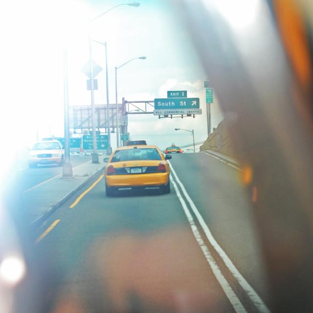 """""""Hazy Taxi Ride"""" stock image"""