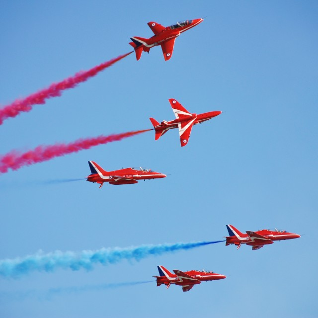 """""""The Red Arrows, Hastings"""" stock image"""