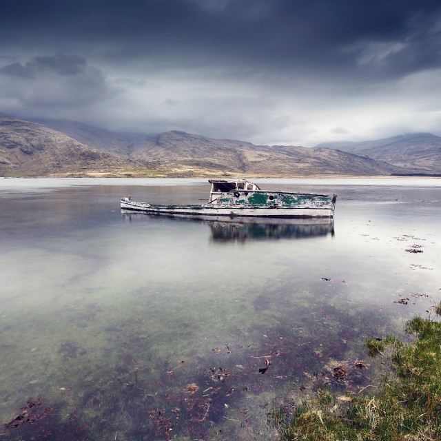"""Pennyghael boat wreck"" stock image"