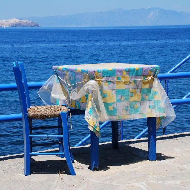 """Seafront taverna, Nisyros"" stock image"