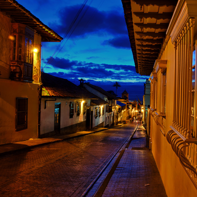 """Colonial Street at Night"" stock image"