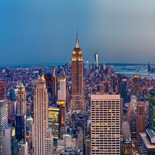 """Manhattan At Sunset"" stock image"