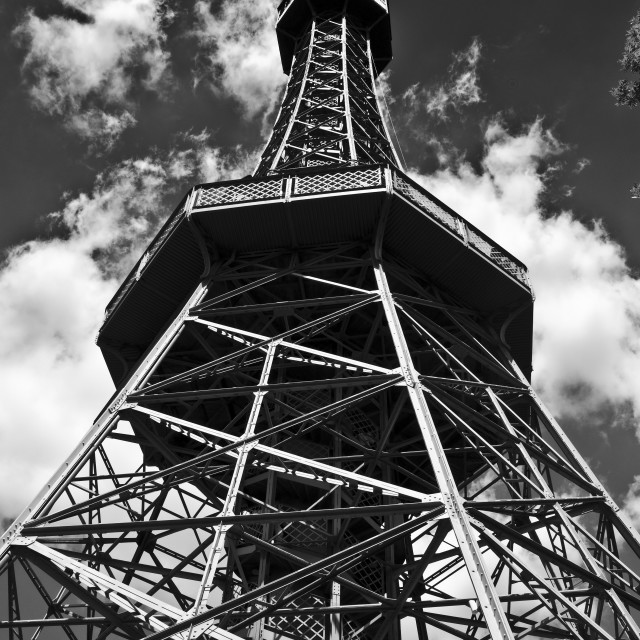 """""""Petrin Hill Observation Tower, Prague"""" stock image"""