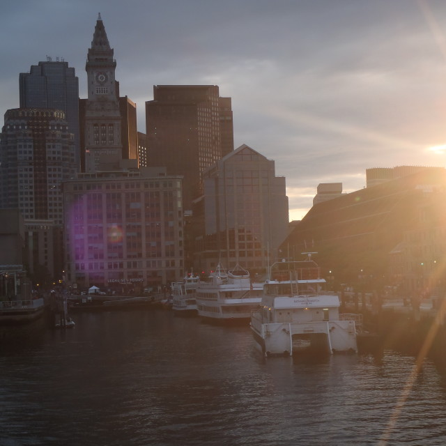 """Sunset on Boston Harbour"" stock image"