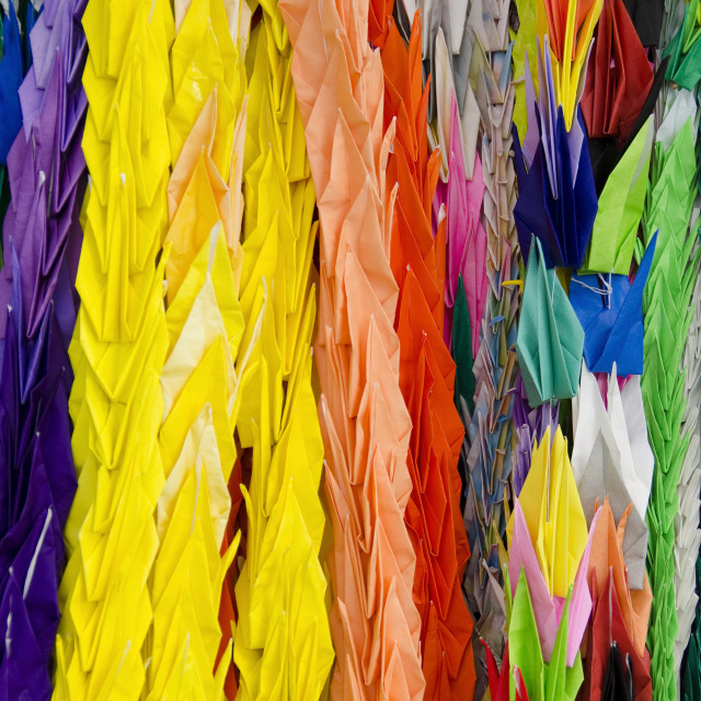 """Thousand origami cranes"" stock image"