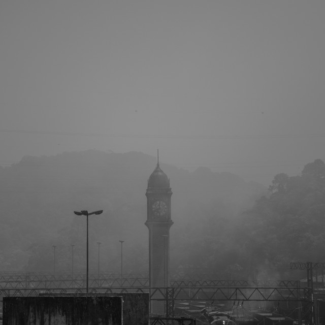"""""""Clock Tower in Fog"""" stock image"""