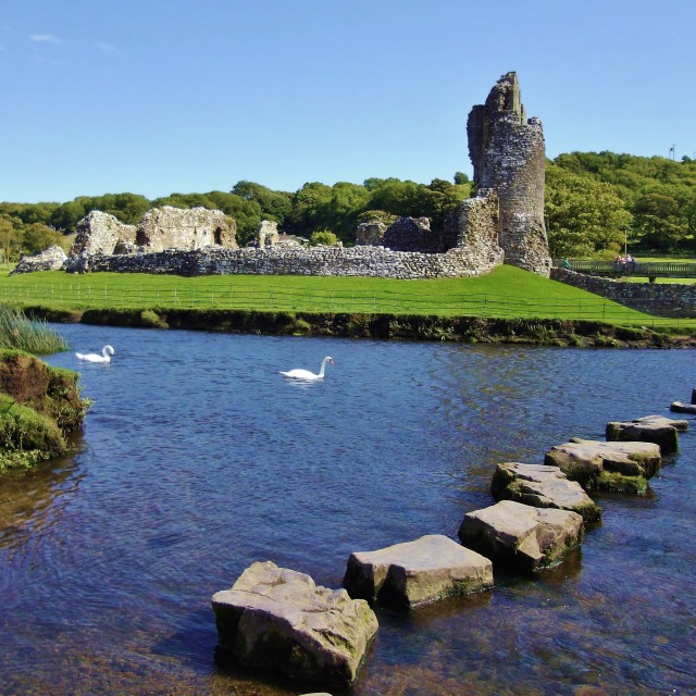 """Ogmore Castle & Stepping Stones"" stock image"