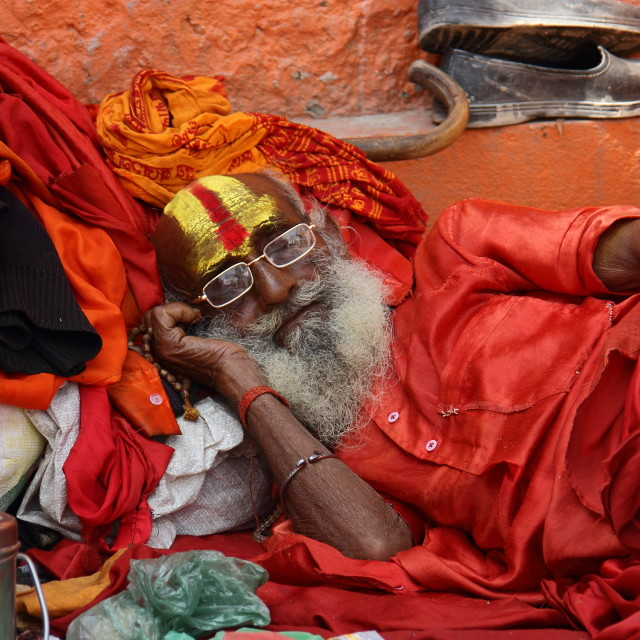 """Sadhu asleep"" stock image"