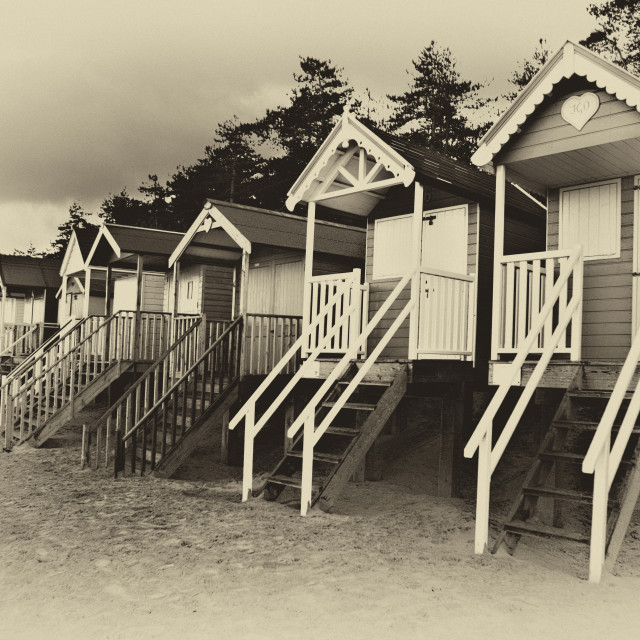 """Wells beach huts in sepia"" stock image"