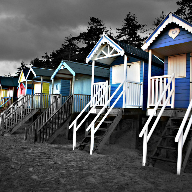 """Beach huts at Wells"" stock image"