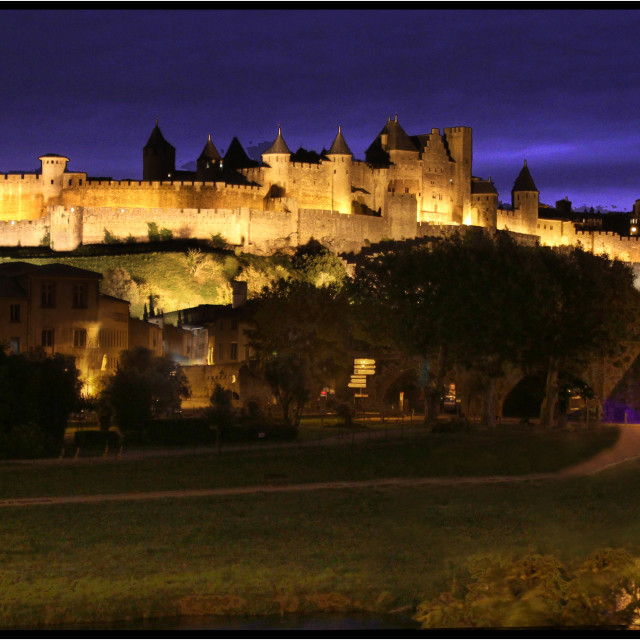 """Carcassonne By Night"" stock image"