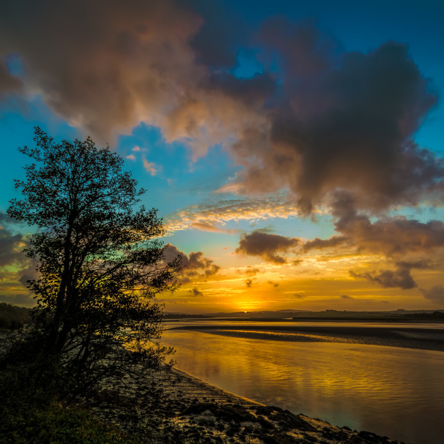 """River Taw sunrise"" stock image"