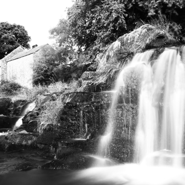 """Waterfall by the mill"" stock image"