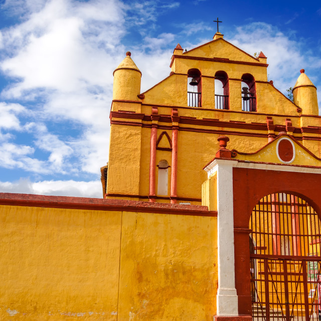 """Yellow Colonial Church"" stock image"
