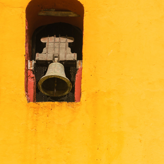 """""""Yellow Church Bell Tower"""" stock image"""