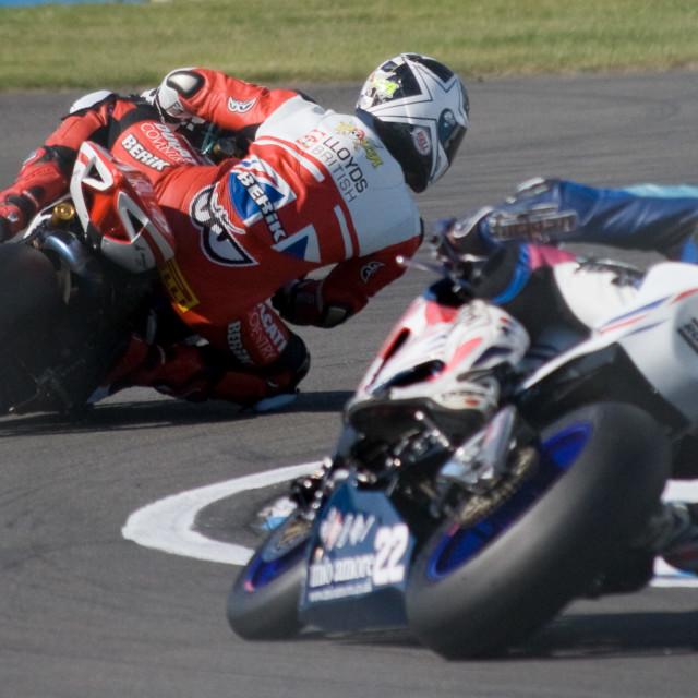 """Motorbikes cornering"" stock image"