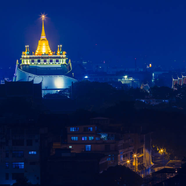 """Golden pagoda at night"" stock image"