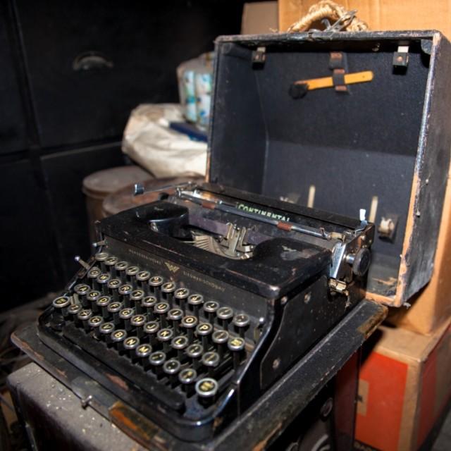"""Typewriter at a boot sale"" stock image"