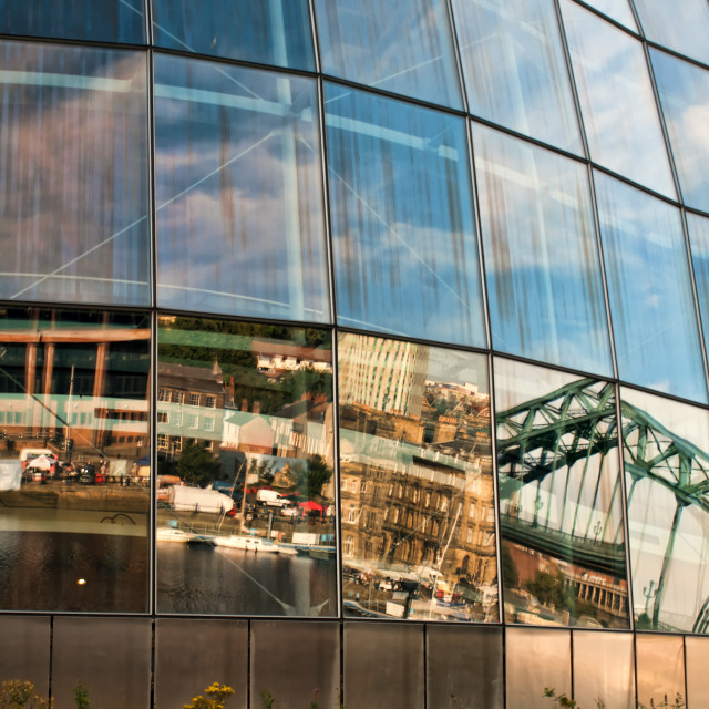"""Newcastle Reflected in The Sage"" stock image"