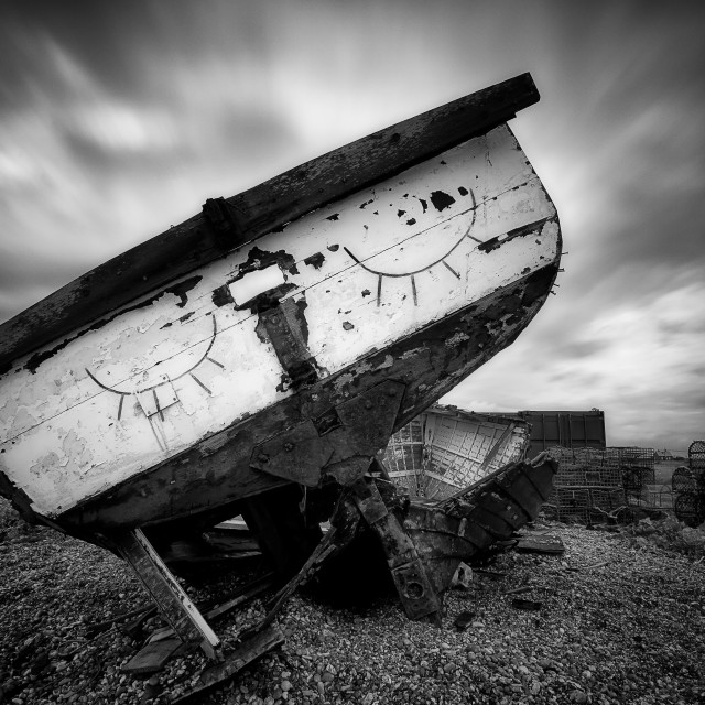 """Sleeping Boat, Dungeness, Kent"" stock image"