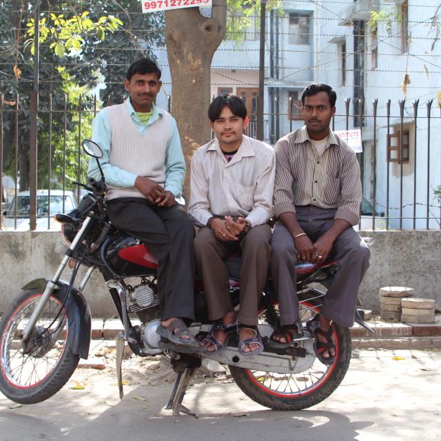 """""""Three Men On A Bike In Delhi"""" stock image"""