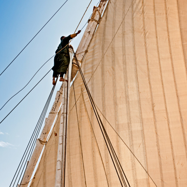 """Adjusting the Sails, on The Nile"" stock image"