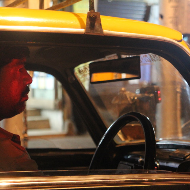 """Cab Driver Waits"" stock image"
