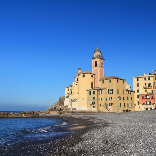 """beach and church in Camogli"" stock image"